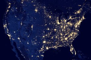 view of america at night from space